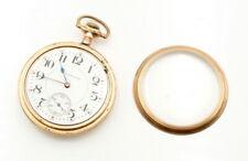 VINTAGE HAMPDEN 16S 21J GOLD TONE OPEN FACE POCKET WATCH CIRCA 1914 #8614-4