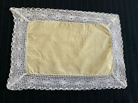 Vintage Handmade Lace Bordered Doily Dresser Scarf Yellow White