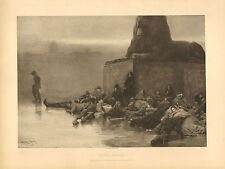 Sans Asile, by Dudley Hardy, Homeless, French, Vintage, 1890 Antique Art Print.