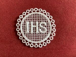 IHS - In His Service sew-on lace motif, appliqué, patch, religious
