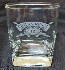CHIVAS REGAL 12 -SQUARE WHISKEY ROCKS GLASS - WHITE EMBOSSED LETTERING