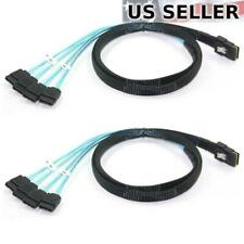 2x Mini SAS to 4 SATA SFF-8087 Multi-Lane Forward Breakout Splitter Cable 3 Feet
