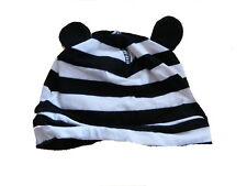 H & M tolle Mütze Gr. 56 schwarz-weiß geringelt mit Öhrchen !