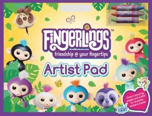 Fingerlings A3 Artist Pad Kids Colouring Book with Crayons - Free P&P