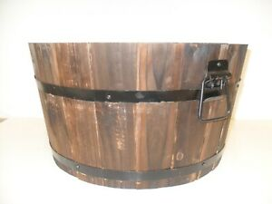 Burnt Wood Half Whiskey Barrel Wooden Planter Round Plant Pot Outdoor Garden
