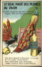 Peacocks - L'Huile Des Chartreux Oil Bottle c1910 Postcard