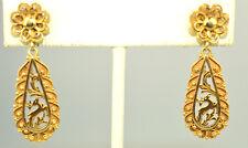 ANTIQUE VICTORIAN 14K YELLOW GOLD DEER STAG OPENWORK DANGLE PIERCED EARRINGS