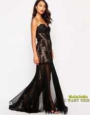 Forever Unique Alexa Bandeau Maxi Dress with Sheer Skirt in Black UK10 RRP£410