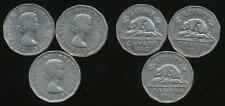 Canada, Group of 3 Elizabeth II 5 Cent Coins (1956, 1959, 1960) - Fine