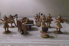 VTG LOT HAND CARVED WOOD ANGEL MUSICIANS & INSTRUMENTS ~ GERMAN
