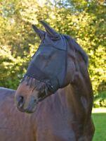 Fliegenschutzmaske mit Ohrenschutz und Nüsternkordel Kerbl schwarz NEU