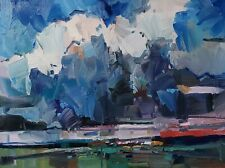 JOSE TRUJILLO Oil Painting IMPRESSIONISM 18X24 LANDSCAPE CLOUDS COLLECTIBLE ART