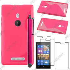 Housse Etui Coque Silicone S-line Rose Nokia Lumia 925 + Stylet + 3 Film écran