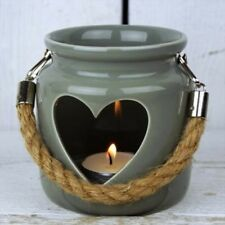 Shabby Chic Grey Porcelain Tealight Holder With Rope Handle And Heart Cutout