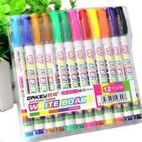 12 Colors Whiteboard Marker Non Toxic Dry Erase Mark Sign Fine Nib Set Supply