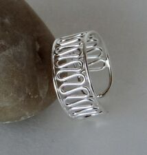 Sterling Silver Wire Zig Zag Toe Ring Adjustable Handcrafted Polish Finish