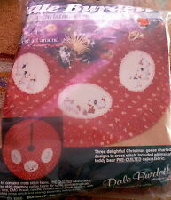 VTG Christmas Counted Cross Stitch Tree Skirt Kit CALICO GEESE & TEDDY BEARS