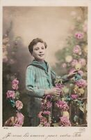 1910 Handsome boy w/ flowers hand tinted old French antique photo card
