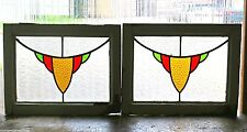 Pair of Antique Stained Glass Windows Three Colors Delightful Gold Design (2888)