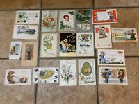VINTAGE LOT 19 POSTCARDS EARLY 1900S EASTER BUNNY CHRISTMAS VALENTINE DENBO IN