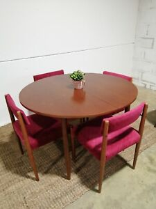 Mid century Round Extendable Dining Table And Chairs vintage 1960s Retro teak