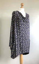 CAPRI Fabulous Dark Grey Spotty Lagenlook Tunic Dress/top With Pockets Size S/M