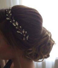 "Handmade 13"" hair vine tiara bridal/wedding/clear gem crystal pearl bride bead"