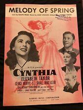Elizabeth Taylor Cynthia Rare Sheet Music Melody Of Spring Vintage