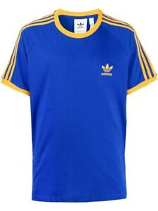 Adidas Men's 3-Stripes Tee, Royal Blue/Active Gold