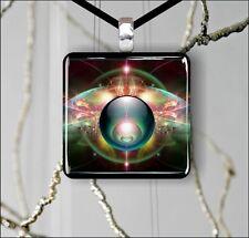 "FRACTAL ART MAGIC GLOBE #7 GLASS 1"" PENDANT NECKLACE -fgv6Z"