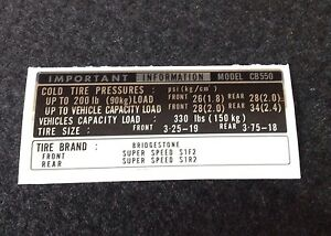 """HONDA CB550 FOUR """"TIRE INFO"""" DECAL EARLY MODELS"""