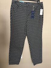 NWT Charter Club Womens Plus Size 14W Black/White Geometric Bristol Skinny Jeans