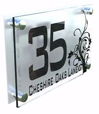 Modern House Number Plaques Acrylic Wall Door Sign Flowers Name Plate Dec4-10BS