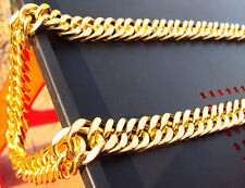 MENS 24K YELLOW GOLD FILLED FINISH THICK MIAMI CUBAN LINK NECKLACE CHAIN Heavy