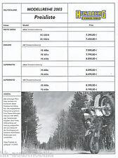 Husaberg Preisliste 2003 (D) FC 550/4 550/6 FE 400e 501e 650e FS 400c 650c FS
