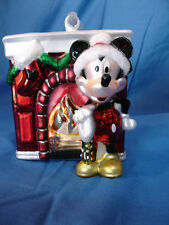 Mickey Mouse at Fireplace Blown Glass Christmas Ornament Disney Figurine