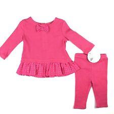 Absorba Paris Baby Girl Shirt Leggings Pant Set Sz 0-3 Mo Pink Bow Tie Ruffles