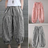 ZANZEA Women Harem Pants Elastic Waist Baggy Oversize Stripe Trousers Plus Size