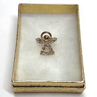 """Vintage Christian Religious Lapel Hat Pin Back Angel w/Halo 1/2"""" Clear Stone #42"""