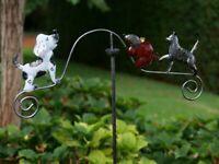 Windspiel  Gartenstecker Gartendeko Metall Pflanzenstecker Hund Katze Maus  046