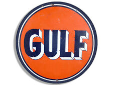 4x4 inch Round Vintage GULF Logo Sticker  - gas sign rat rod motor car gasoline