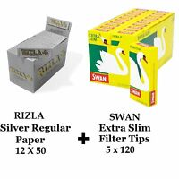 600 x Rizla Silver Regular Rolling Papers & Swan Extra Slim Filter Tips Smoking
