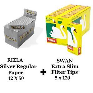 600 x Rizla Silver Regular Rolling Papers & Swan Extra Slim Filter Tips Smoking