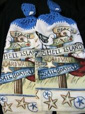 BEACH~SHELL ISLAND~2 crochet top kitchen bath hand cottage towels SHELL buttons