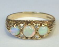 Hallmarked 9ct Gold Opal & Diamond Ring. Size O