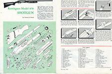 1960 Print 2 Page Article Ad of Remington Model 870 Shotgun Parts List Takedown
