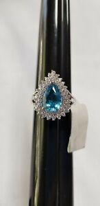 Swiss Blue Topaz White Topaz Ring Size 9