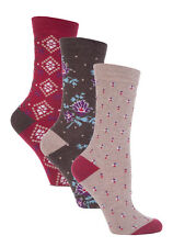 3 Pairs Ladies Jennifer Anderton Brown Floral and Dots Cotton Socks, Size 4-8