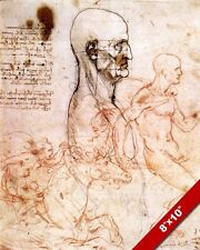 LEONARDO DA VINCI STUDY SKETCH OF MAN & HORSE PROFILES REAL CANVAS ART PRINT