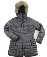 Eddie Bauer Womens Medium Down Puffer Parka Jacket Fur Trim Gray
